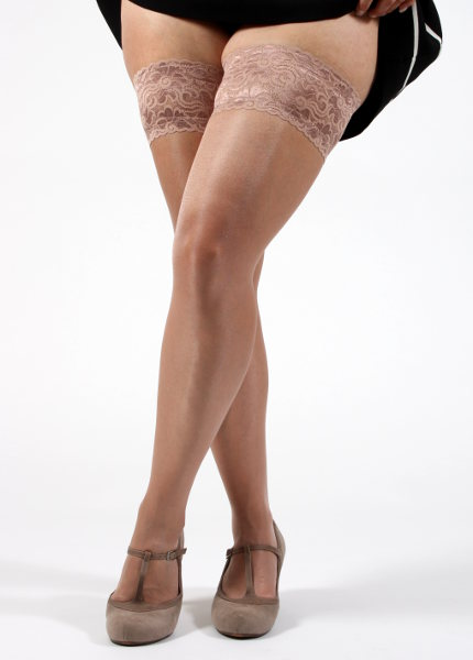 Silky Super Shine Lace top Hold up XL Stay-ups X-Large / Strumpbyxor.com