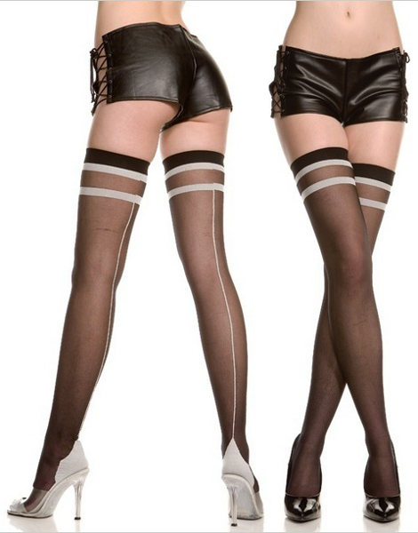 Music Legs Two Tone Cuban foot Stocking Stockings Seamed / Strumpbyxor.com