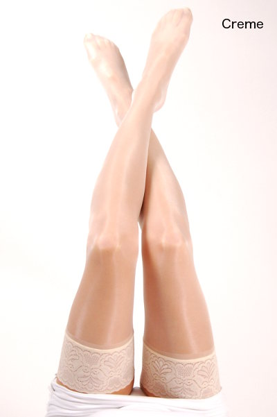 Silky Super Shine Lace top Hold ups Stay-ups  / Strumpbyxor.com